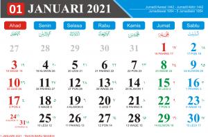 Kalender Januari 2021 Lengkap Hari Libur Kalender Jawa Bulan Januari 2021 kalender Hijriyah Bulan Januari 2021