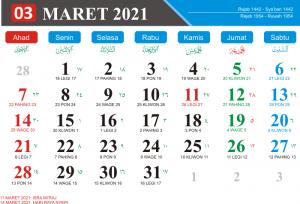 Kalender Maret 2021 Lengkap Hari Libur Kalender Jawa Bulan Maret 2021 kalender Hijriyah Bulan Maret 2021