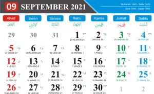 Kalender Bulan September 2021 Lengkap Hari Libur Nasional Kalender Jawa Bulan September 2021 Hari Pasaran Jawa kalender Hijriyah Bulan September 2021